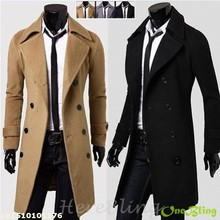 Hot Nice Mens Worsted Trench Coat Solid Color Double Breasted Notched Collar Slim Fit  Windproof Pea Coat for Men(China (Mainland))