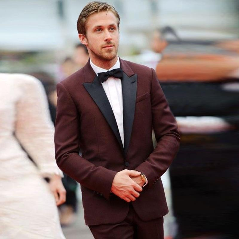 New Tuxedos Jacket Dark Burgundy Tuxedo Jacket Wedding Suits For Men Custom Made Maroon Prom ...