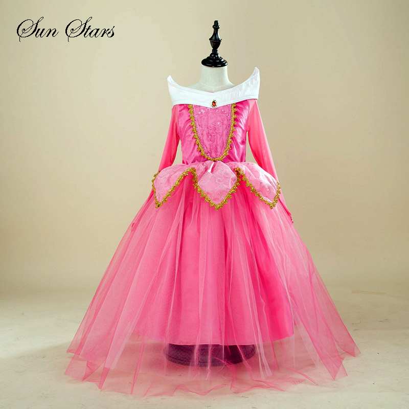 Retail Princess Dress Children Dresses Summer Dress Elsa Dress 2016 Costume Party Princess Princess Aurora Pink Free Shipping(China (Mainland))