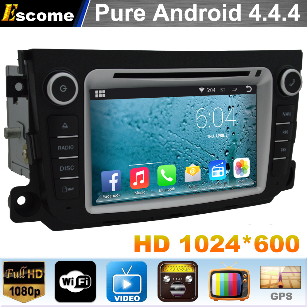 Pure Android 4.4 Car dvd GPS Navigation Radio Blutooth For Mercedes Benz Smart Fortwo 2012 2013 2014 Dual core A9 3G WIFI(China (Mainland))