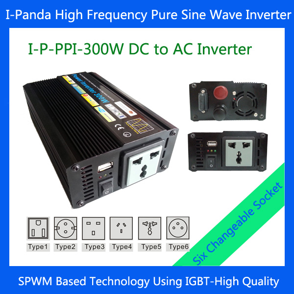 Stock 300W Pure Sine Wave Inverter 300W 24VDC TO 100VAC 50Hz Power Inverter 300W 600W Peak with Universal Socket for car camp(China (Mainland))