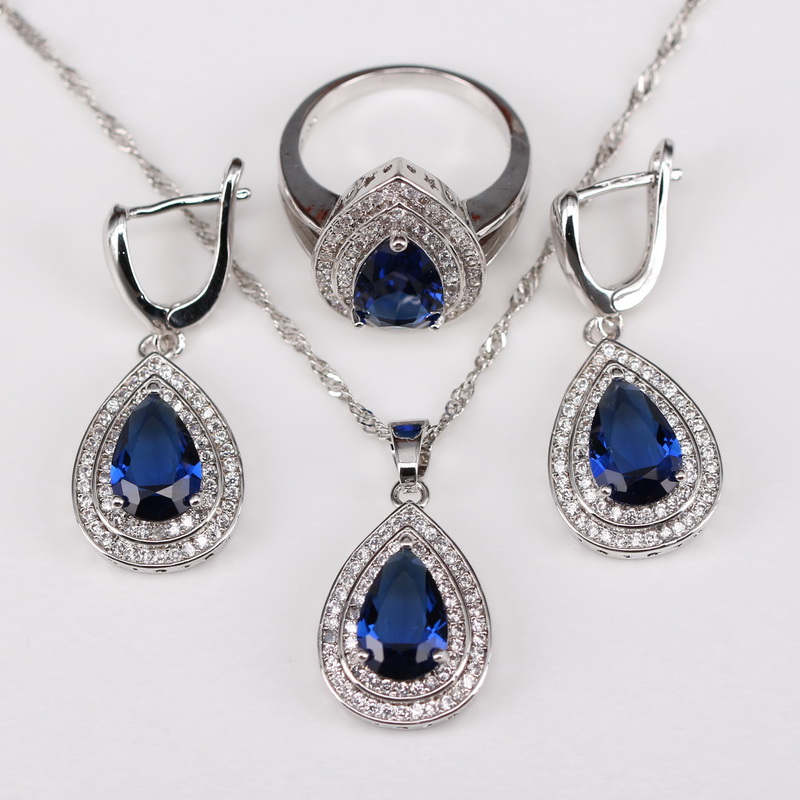 Hot-Selling Blue Sapphire Jewelry Sets For Women 925 Sterling Silver Jewelry  Free Shipping  Free Gift Box t59<br><br>Aliexpress