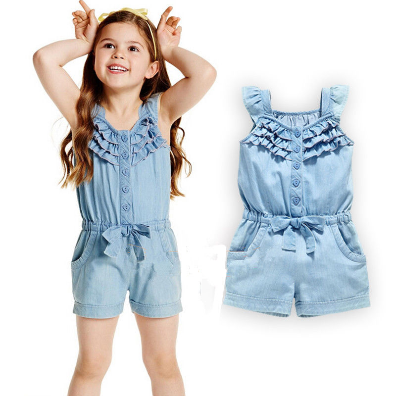 Summer 2016 Girls Denim Overalls For Girls Jumpsuits Romper Trousers Kids Cotton Dungarees Short ...