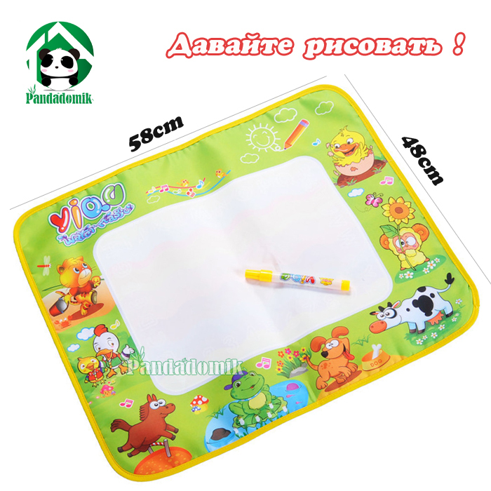 Drawing Toys Russian language 58*48cm High Quality Thick 4 Color Aqua Doodle Water Draw Mat &1 Magic Pen/ Drawing Board(China (Mainland))