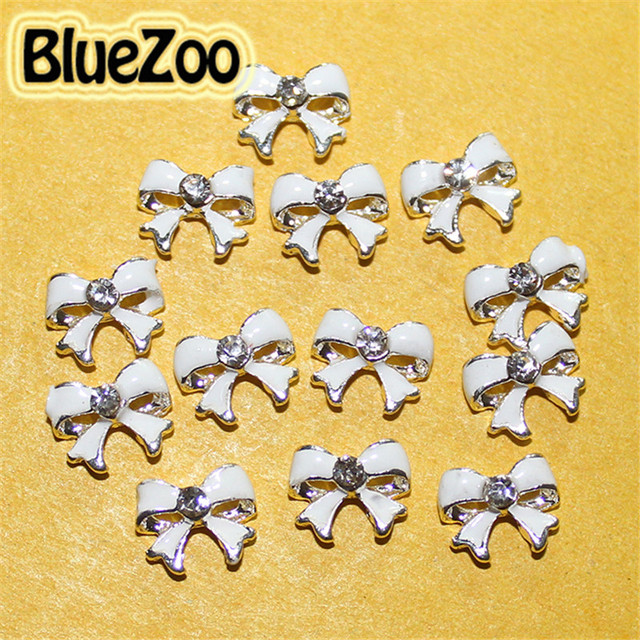 BlueZoo 20pcs White Alloy Bow Tie Rhinestones Decoration For Nail Art DIY 3D Silver Nail Stud Beauty Tips Free Shipping