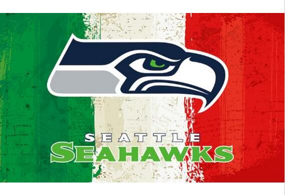 Green white red Stripes Seattle flags 3ftx5ft Banner 100D Polyester Flag metal Grommets(China (Mainland))