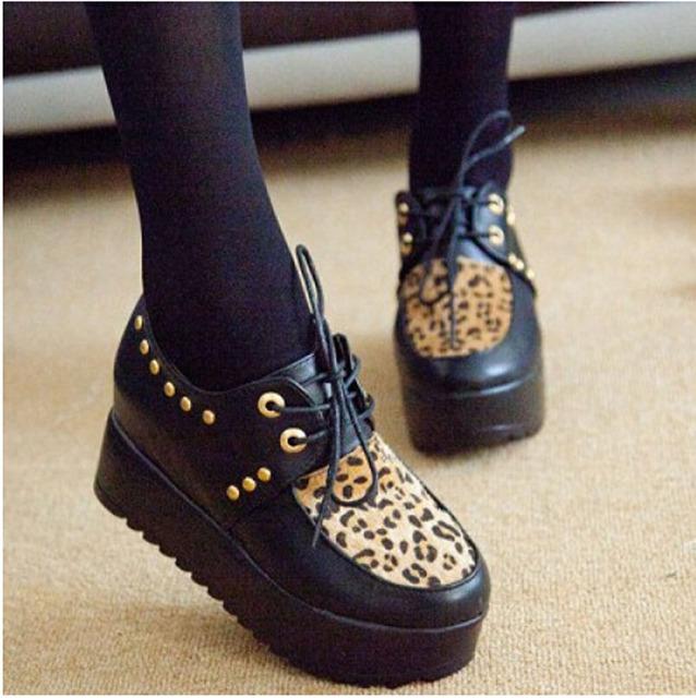 Женская Обувь Осень Новый Криперс pu Кожаные туфли На Платформе женщины случайный ...