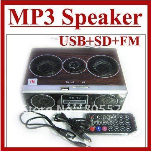 Mini Sound box MP3 player Mobile Speaker boombox FM Radio SD Card reader USB SU12 free shipping