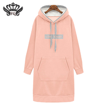 2016 Autumn Winter Women's Sweatshirts Dress Casual Hooded Sport Tracksuits Plus Size Pullovers Letters Hoodies Dress Pink/Blue
