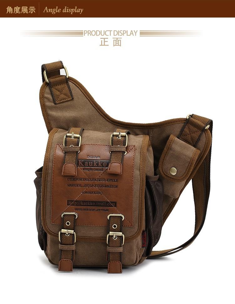 KAUKKO Brand Retro Vintage Canvas Bag Men Messenger Bag Man Cross Body
