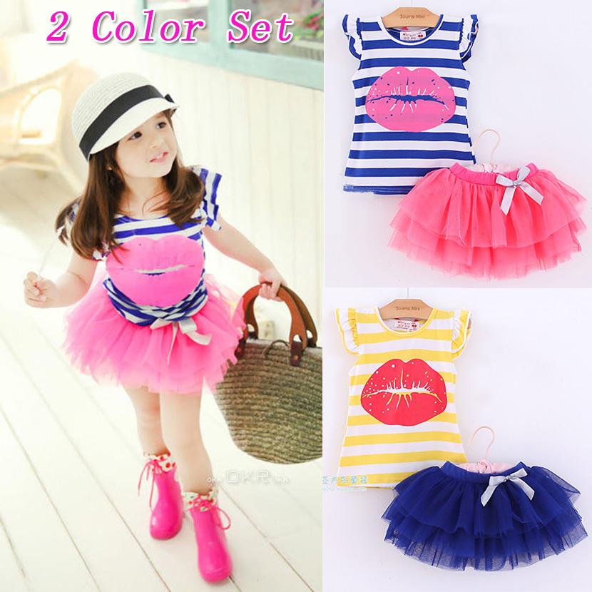 Girls clothing sets 2015 new kids set children's clothing summer girl child set big butterfly short sleeve vest tee and skirt(China (Mainland))