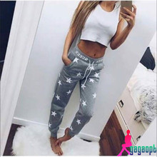 Gagaopt 2016 Spring Pink & Gray New Arrival Women Pants Star Pattern Thicken Casual Pants Street or Home Wear Sport Pants Calcas(China (Mainland))