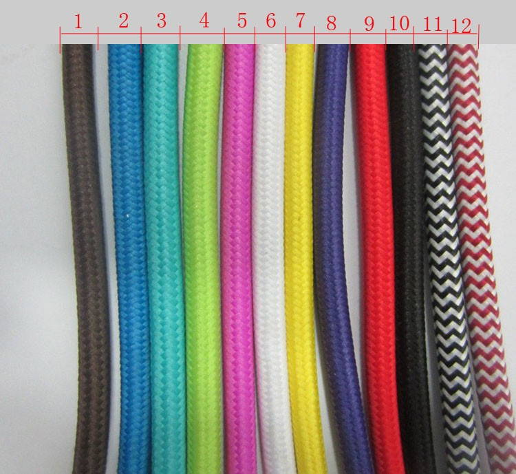 5 m vintage cable 2*0.75 textile fabric electrical wire DIY pendant light electrical cable woven braided cable power cord(China (Mainland))