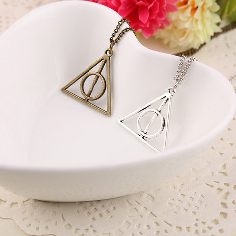 Wholesale Harry Potter Deathly Hallows Necklace Triangle Gift Antique Silver Gold Movie Jewelry Free Shipping Fashion Jewelry(China (Mainland))