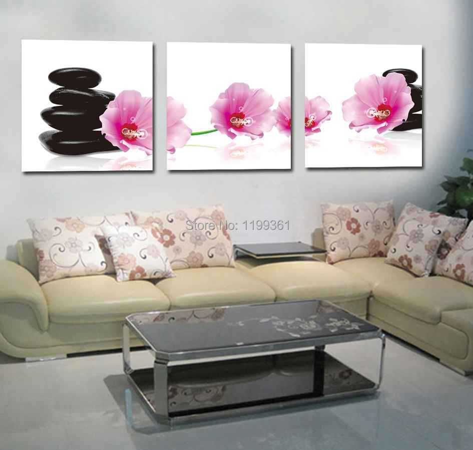 Modern Wall Art Home Decoration Printed Oil Painting Pictures 3 Panel No Frame Pink Flowers Black Stone Beauty Salon Decor(China (Mainland))