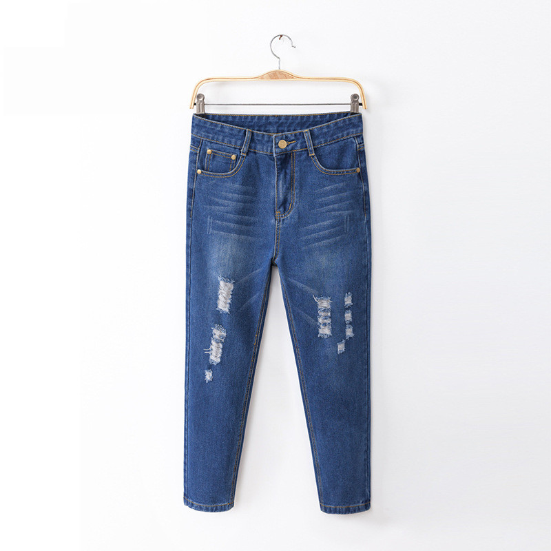 New Jeans For Women Plus Size Cotton Fashion Hole Feet Design Jeans Simple Summer Style Loose Jeans Ankle-Length Pants Hole Cool(China (Mainland))