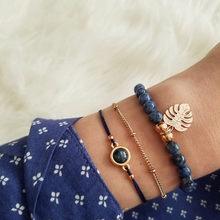 בוהמי כסף חרוזים שרשרת צמידי צמידים לנשים אופנה לב מצפן זהב צבע שרשרת צמידי סטי מחיר מדהים(China)