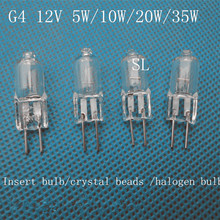 10Pcs G4 /T3 12volt 10//20/35watt Tungsten halogen base bulb lamp light(China (Mainland))
