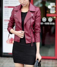 New Casual Sping Autumn Women Short Faux Leather Jackets Coat Slim Zipper Motorcycle Trendy Faux Leather Outwear LEATHER-3012(China (Mainland))