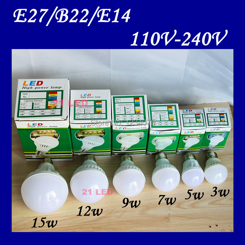2015 LED lamps High brightness led lights E27 5W 9W 12W 25W 110V 220V 2835 SMD Cold white/warm white AC110V 220V 240V led bulb(China (Mainland))