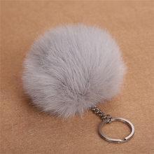 8 centímetros Faux Fur Bola Chaveiro Pompom Fofo Lindo Chaveiro Chaveiro Bonito Pom Pom Porte Clef Para As Mulheres Saco charme Brinquedos 6C0091(China)