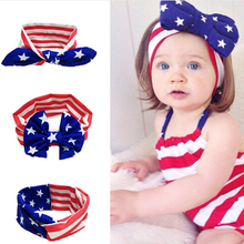 Newborn Outfit Photo Prop National Day headband Soft Stretch  Bow Turban Bowknot Hairband Headwrap Hair Accessories  kt047