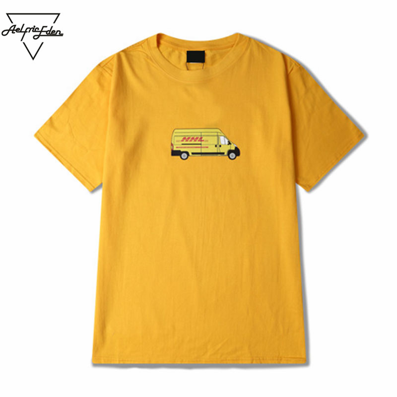 Aelfric Eden Streetwear Casual Couple Clothes Men Express Truck Cartoon Printing Yellow T Shirt Cotton Man Half Sleeves Tops Tee(China (Mainland))