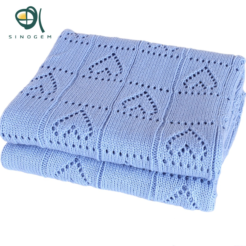 Sinogem Square 130x170cm Sky Blue Cable Knitted Blanket 100% Acrylic Heart Shaped Knitted Blanket for sofa bed home(China (Mainland))