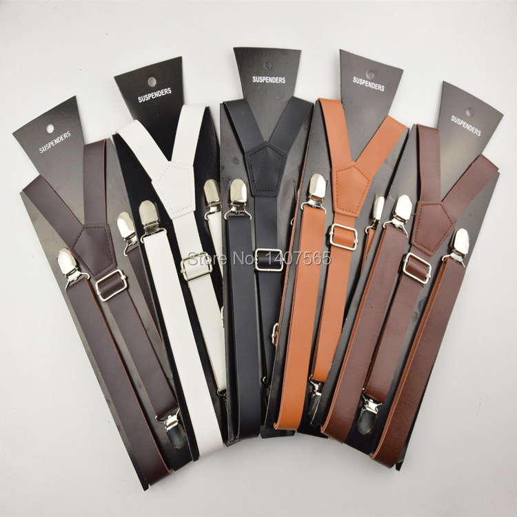 Brown black braces 25mm width mens/women pu leather suspenders men 120cm - Carol Birds' Store store