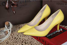 2015 New fashion heels shoes woman Sheepskin fine with pointed summer women pumps shallow mouth shoes women100% suede cow muscle
