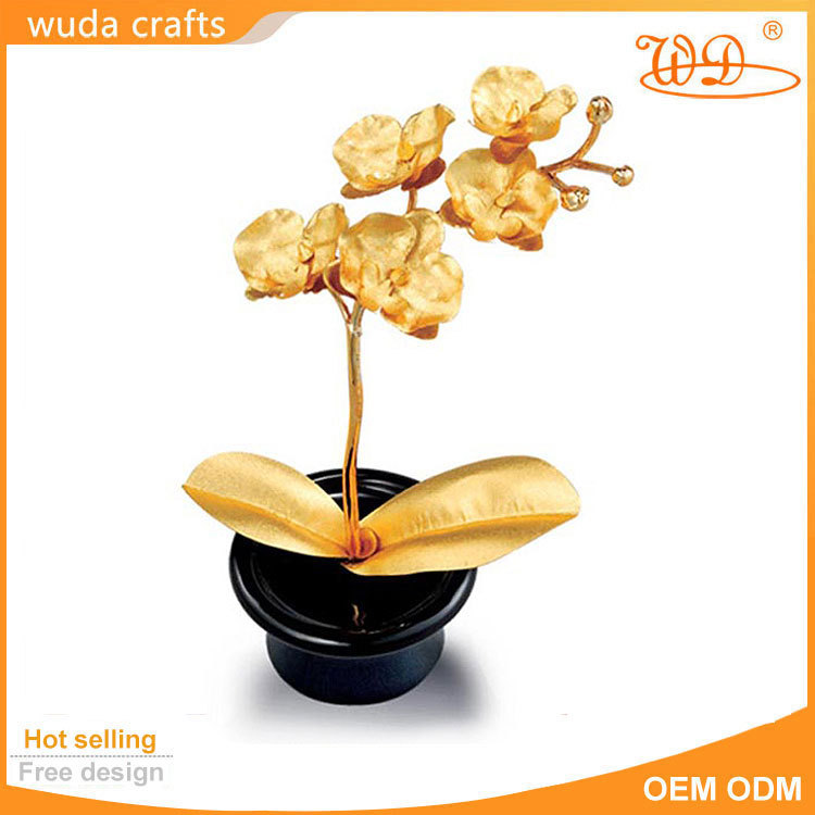 three size gold rose christmas gift 24k gold orchid craft art(China (Mainland))