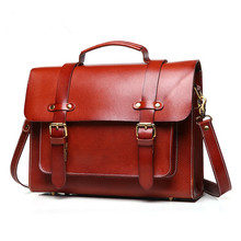 Hot Sale 2016 100% Genuine Leather Men Bags Vintage Business Cowhide Briefcase Men's Briefcase Men Travel Bags Tote Laptop Bag (China (Mainland))