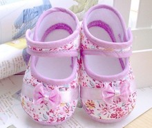 Infant Girls Floral Bowknot Velcro Walking Shoes Casual Cotton Crib shoes