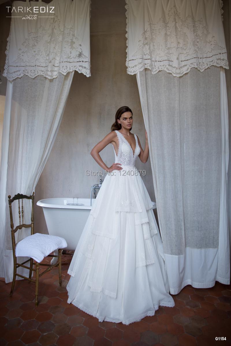 Hot Sale Couture Zwed-160 romantic vestido de noiva white elegant tarik ediz G1154 long vintage lace wedding dress/dresses 2015(China (Mainland))