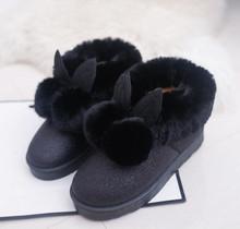 Invierno 2017 mujeres nuevo estilo orejas de conejo zapatos de la señora botas de nieve para mantener el calor de la academia(China (Mainland))