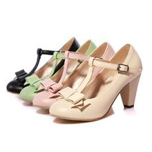 Big size 31-43  high quality hot sale 2014 new fashion style women casual  summer  pink color T-strap high heels pumps shoes(China (Mainland))