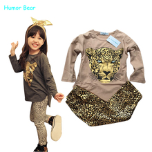 Humor Bear NEW Leopard Kids autumn fashion clothes for girls Cartoon long sleeved pants suit grils