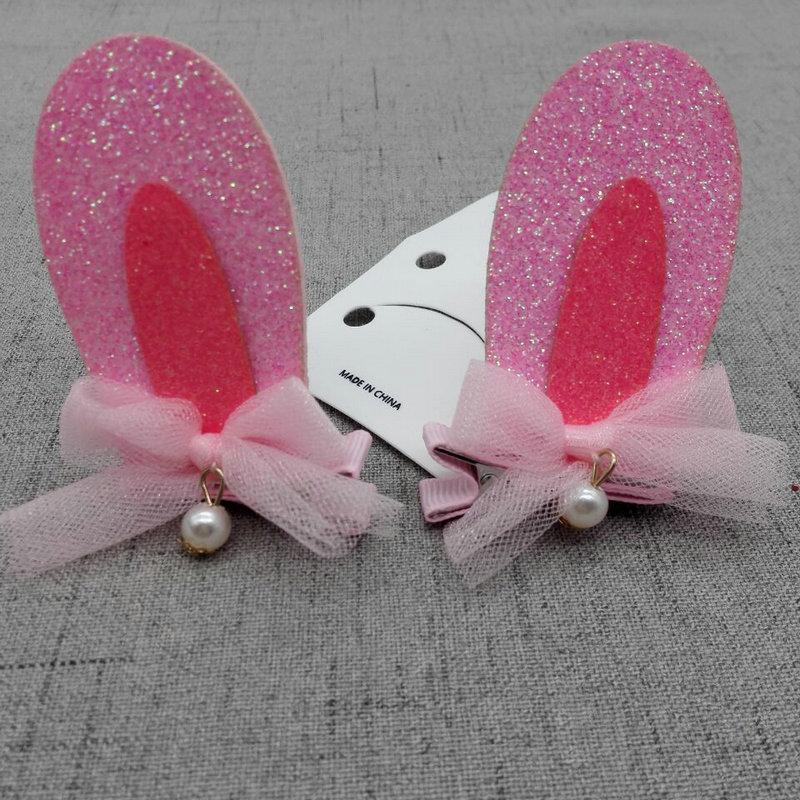 FJ50219 Sweetie Bunny ear Hair Clips Pink Rabbit ear Felt Hairpin Cute Fashion Cartoon Animal Hair Clips Girls Pretty Hair Grips(China (Mainland))