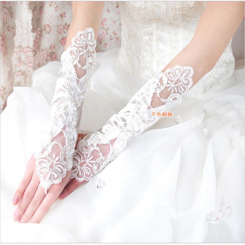 2015 new fashion wedding gloves bride ivory lace bridal for Wedding dress with long gloves