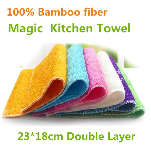 10 pcs/lot Bamboo kitchen towel Microfiber cleaning cloth Washing towel wipes dishcloth as seen on TV Novelty household 5111(China (Mainland))