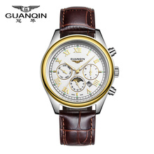 Free Shipping Top Brand Luxury GUANQIN New Fashion Quartz Watches Men Waterproof Leather Strap Sports Mens Watches Wristwatches