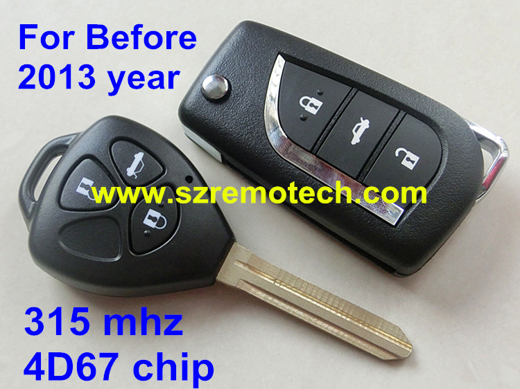 2014 NEW ITEM 3 Button Remote Control Key For Toyota Camry,Prado,Alphard, Land Cruiser With Uncut Blade 315MHZ with 4D67 chip(China (Mainland))