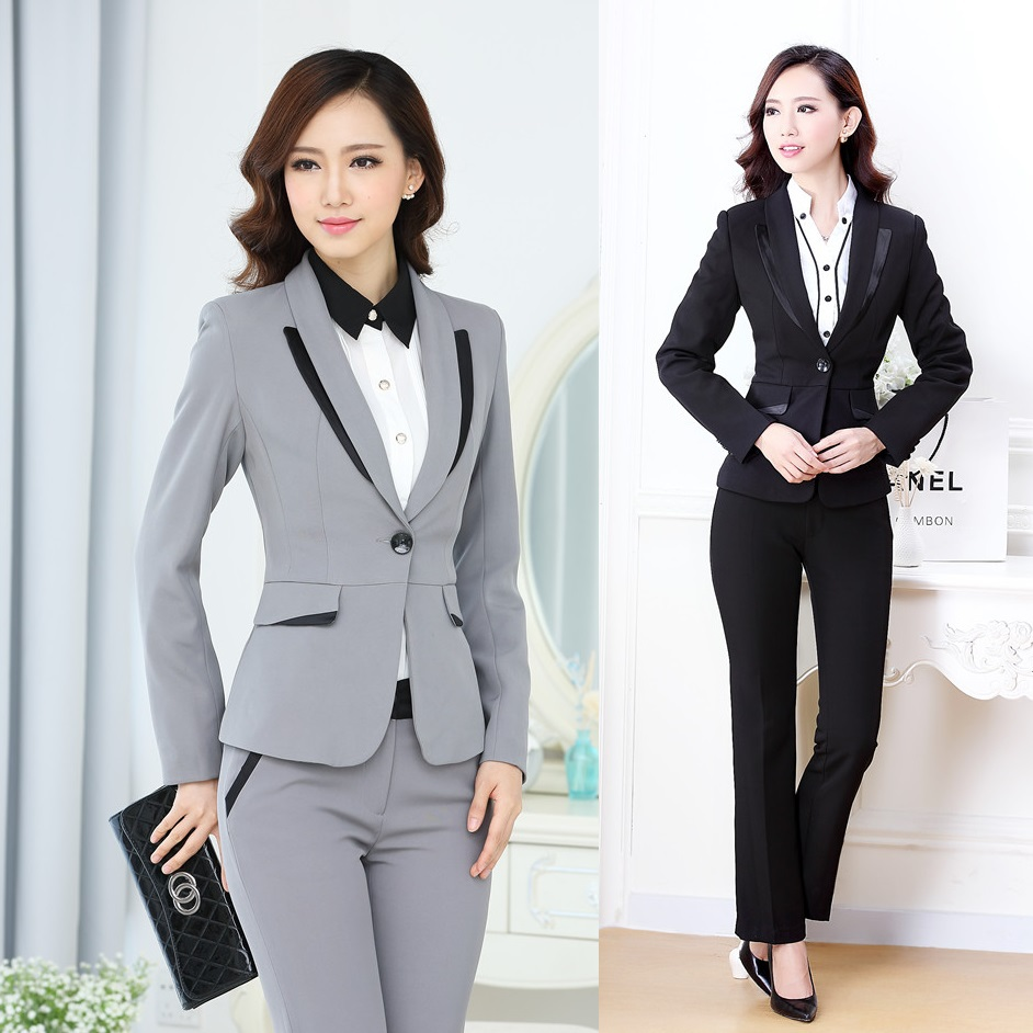 Winter Formal Office Uniform Designs Women Pant Suits Blazer Sets Gray Elegant Pantsuits Lady ...