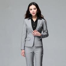 Women Business Suits Formal Office Suits Work 2015 Autumn Winter Ladies Office Uniform Style Pant Set Plus Size Trouser Suit