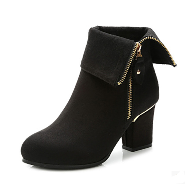plus size 33 41 winter boots thick heel ankle boots