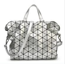 High Capacity Foldable Issey Bao Bao Plaid Tote Woman Handbag Fashion Shoulder Bag Geometric Sequins Bags