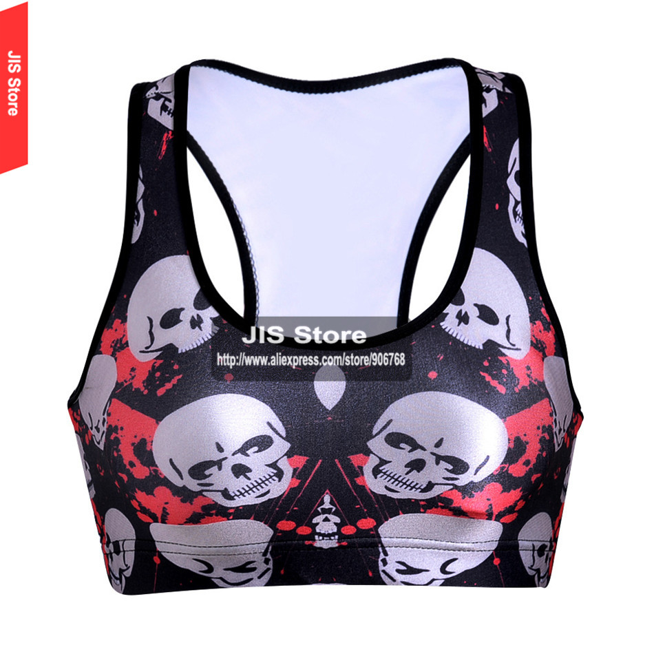 2016 Women Padded Top Athletic Bra Gym Fitness Sports Bra Stretch Workout Bustier Crop Top Sports 3D Skull Printing Bra(Hong Kong)