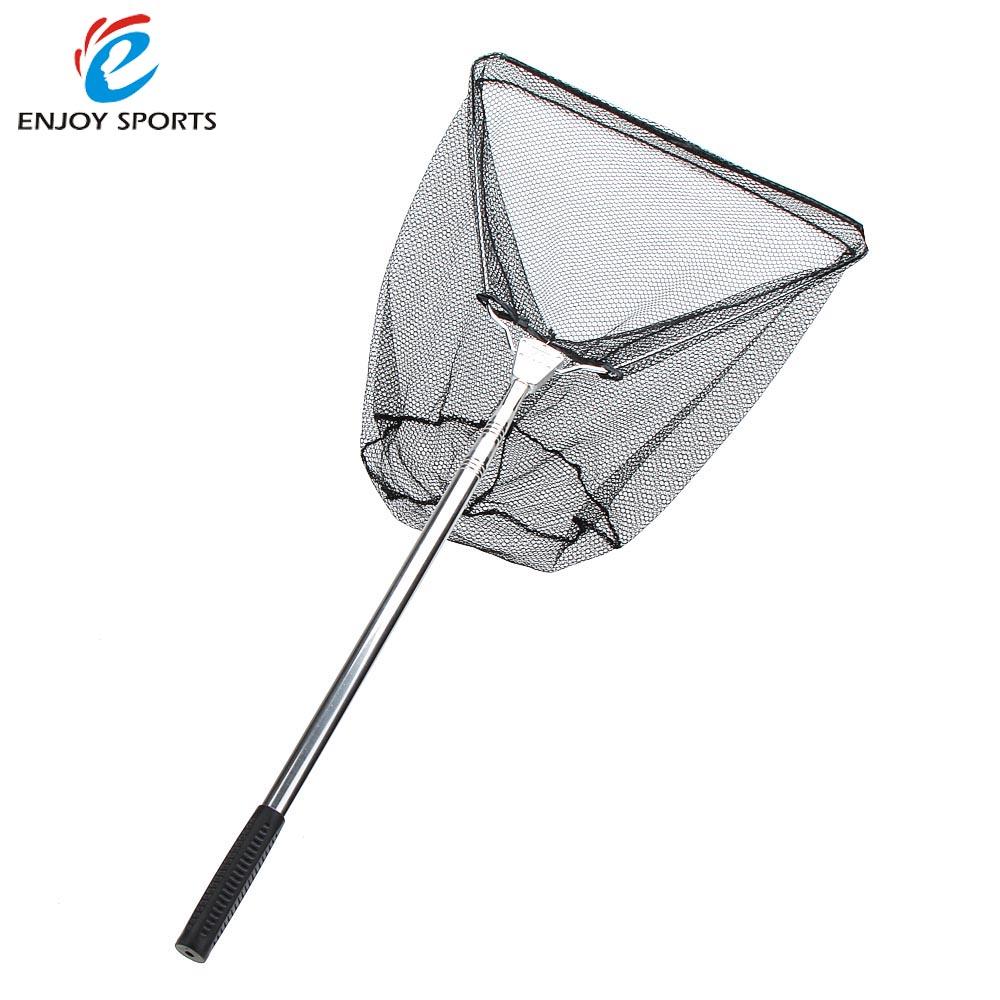 2016 Newest 3 Sections Telescopic Fishing Net Stainless Steel Handle Landing Net Nylon Folding Landing Net(China (Mainland))