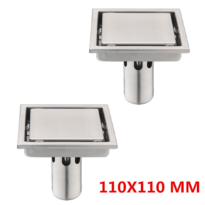 Free shipping 2 pcs 304 stainless steel floor drain 110X110MM large flow to prevent the rectangular shower floor drain DR053(China (Mainland))