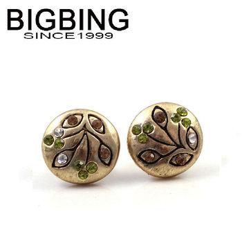Bigbing ювелирные изделия зеленый флэш кристалл декор цветы ретро серьги высокое качество бесплатная никель свободный JA128